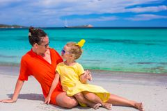 Little girl and happy mom during tropical beach Stock Images