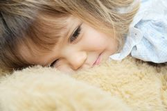 Little girl happy smiley with Teddy bear Stock Photo