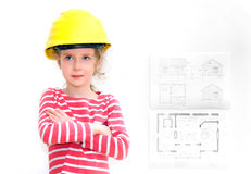 Little girl in hard hat. Stock Photography