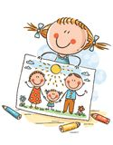 Little girl has drawn a picture of her family. Colorful vector clipart vector illustration