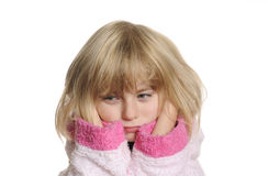 Little girl has earache Royalty Free Stock Photos