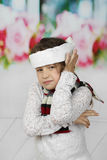Little girl has earache royalty free stock photography