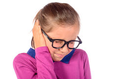 A little girl has earache Royalty Free Stock Images