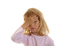 Little girl has headache Royalty Free Stock Photos