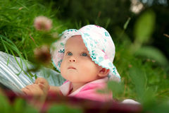 The little girl in a hat Royalty Free Stock Images