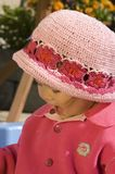 Little girl with hat. Little asian girl with pink hat Stock Photo