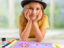 Little girl in a hat Royalty Free Stock Photos