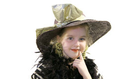 Little girl with hat & boa Stock Photos