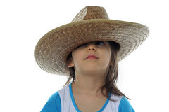 Little girl in hat isolated Royalty Free Stock Photography