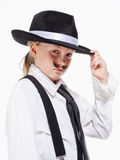 Little Girl with Hat Posing as a Gangster Royalty Free Stock Photography