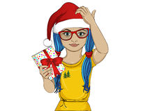 Little girl in the hat of Santa Claus thoughtful and holding a gift. A child who thinks to give a gift for the holiday. Vector Royalty Free Stock Image