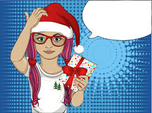 Little girl in the hat of Santa Claus thoughtful and holding a gift. A child who thinks to give a gift for the holiday. Vector Royalty Free Stock Photo