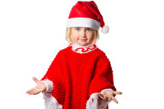 Little girl in a hat Santa Claus on white background. Royalty Free Stock Photos