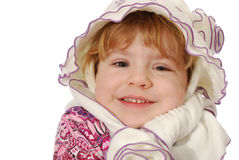 Little girl with hat and scarf Stock Images