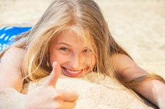 Little girl have fun on beach Royalty Free Stock Photography