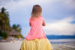 Little girl have fun with her dad at tropical Royalty Free Stock Photography