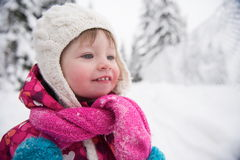 Little girl have fun at snowy winter day Royalty Free Stock Photography