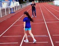 Little girl have fun on stadium Royalty Free Stock Photos