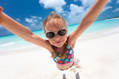 Little girl having beach fun Royalty Free Stock Photography