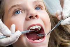 Little girl having dental check up. Royalty Free Stock Image