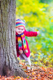 Little girl having fun in an autumn park Stock Images