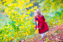 Little girl having fun in an autumn park Stock Photo