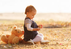 Little girl having fun on beautiful autumn day Royalty Free Stock Images