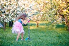 Little girl having fun in blooming apple tree garden on spring day Stock Image