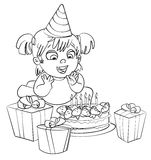 Little girl having fun celebrating her birthday. Coloring book Stock Photo