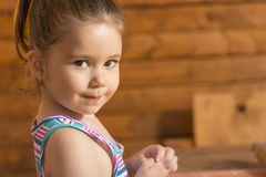 Little girl having fun cooking Royalty Free Stock Images