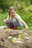 Little girl working in the garden. Little girl having fun in the garden, planting, gardening, helping her mother. Happy, natural childhood concept stock photography