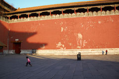 The little girl having fun inside the Forbidden City Stock Images