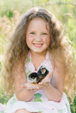 Little girl having fun playing with duck or chicken. Toddler kids outdoor. Happy child laughing and smiling Stock Images