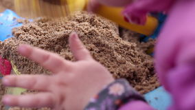 Little Girl Having Fun with a Sand. Child Playing on the Beach, Little Girl Having Fun with a Sand stock video