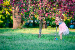 Little girl having fun on scooter in blooming apple tree garden on spring day Royalty Free Stock Images