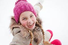 Girl loves wintertime Stock Image