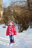 Little girl having fun at winter Stock Photography