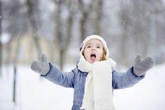 Little girl having fun at winter stock photo