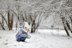 Little girl having fun on winter day Royalty Free Stock Images