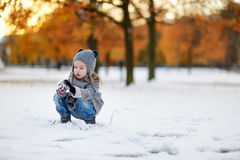 Little girl having fun on winter day Royalty Free Stock Photo