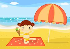 Little girl having an icecream on the beach. Illustration about a cute little girl eating a big icecream under the sun on the beach at seaside Royalty Free Stock Images