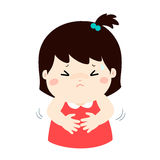 Little girl having stomach ache cartoon . Girl having stomach ache,cartoon style  illustration isolated on white background Royalty Free Stock Photo