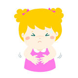 Little girl having stomach ache cartoon . Girl having stomach ache,cartoon style  illustration isolated on white background Stock Image