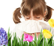little girl with hay fever Stock Photography