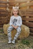 Little girl on the hay Royalty Free Stock Photos