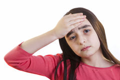 Little girl with headache Stock Images