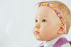 Little girl with headband in form of chaplet Royalty Free Stock Images