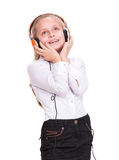 Little girl in headphones Royalty Free Stock Image