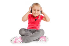 Little girl with headset Stock Photo