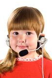 Little girl with headset Royalty Free Stock Photo